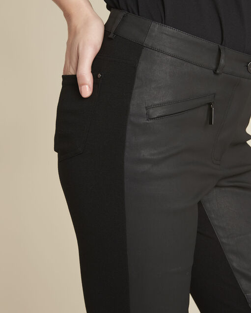 Pantalon noir slim bimatière Helias (2) - 1-2-3