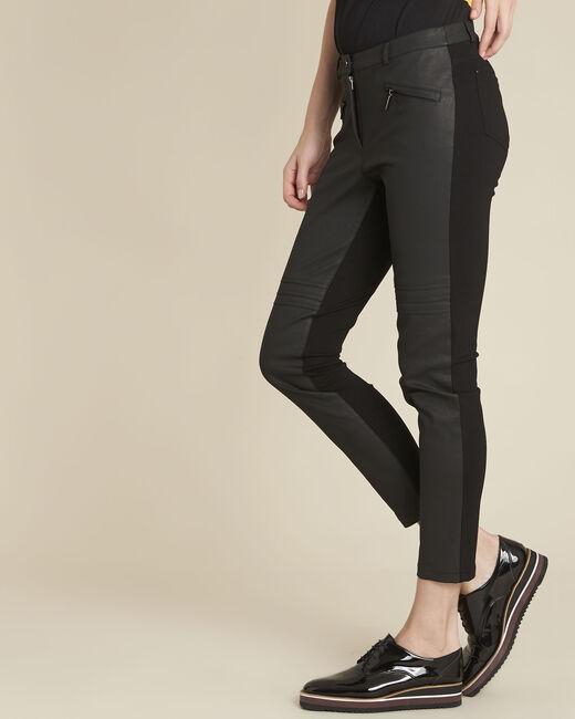 Helias black slim-cut bi-material trousers (2) - 1-2-3