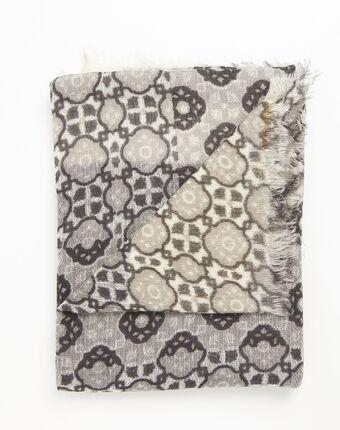 Foulard mix d'imprimés en laine felice ocre.
