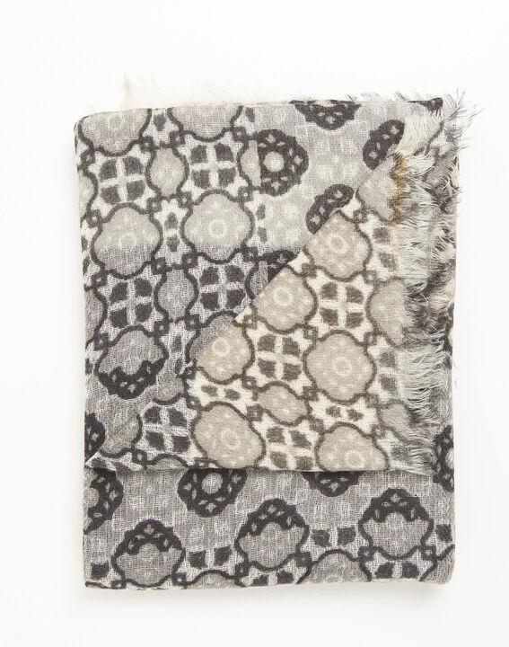 Okergele wollen sjaal met print Felice (2) - 37653