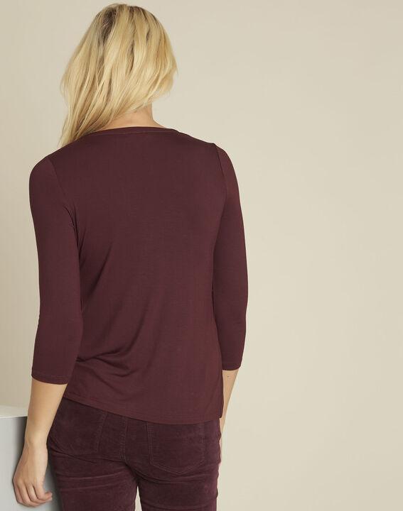 Bianca Bordeaux bi-material blouse with a V-neck (4) - Maison 123