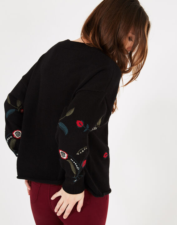 Pia black floral embroidered sweater (4) - 1-2-3