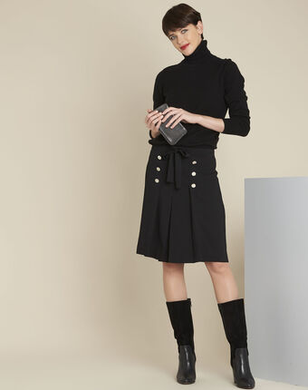 Alix black ruffle skirt with silver-look buttons black.
