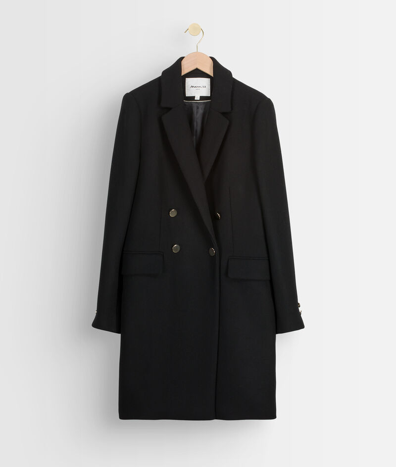 Manteau droit en laine recylée noir à boutons dorés Lorine PhotoZ   1-2-3