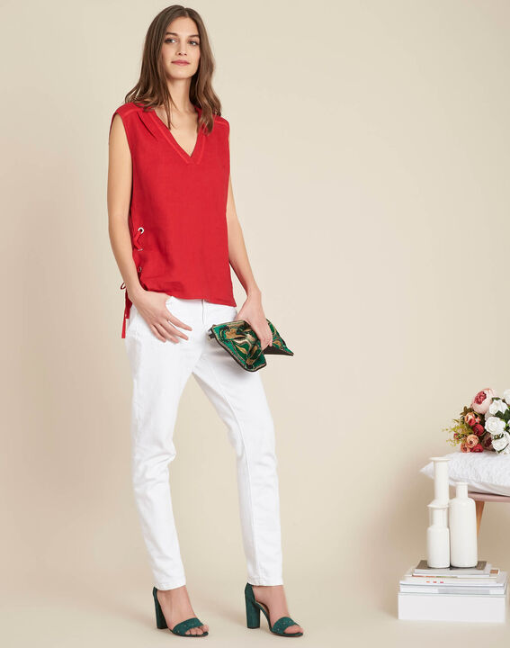 Gally red linen T-shirt with lacing (2) - 1-2-3
