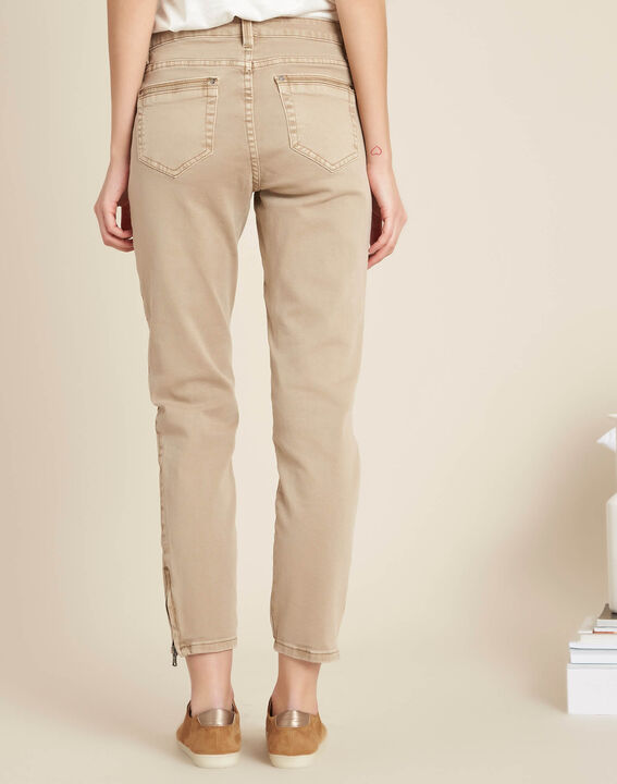 Opera slim-cut camel jeans with zips at the waist (4) - 1-2-3