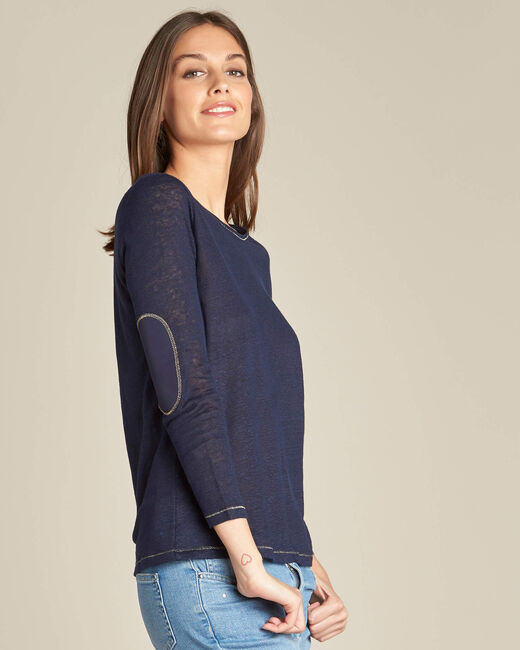 Elin navy blue t-shirt in linen with golden topstitching (2) - 1-2-3