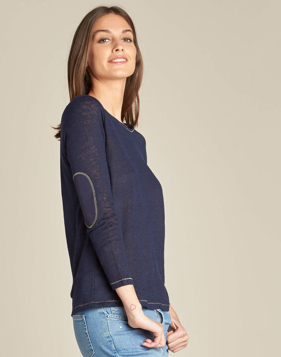 Elin navy blue t-shirt in linen with golden topstitching (3) - 1-2-3