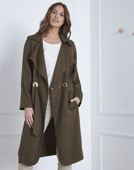 Trench kaki long détails oeillets Dolly (2) - 1-2-3
