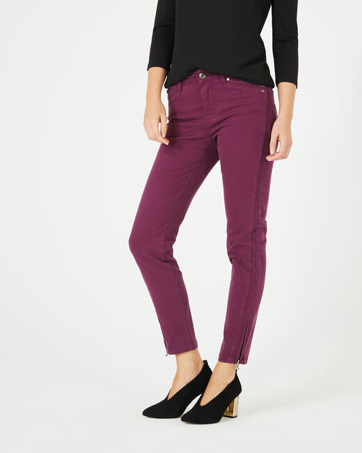 Pia blackcurrant 7/8 length satin trousers (1) - 1-2-3