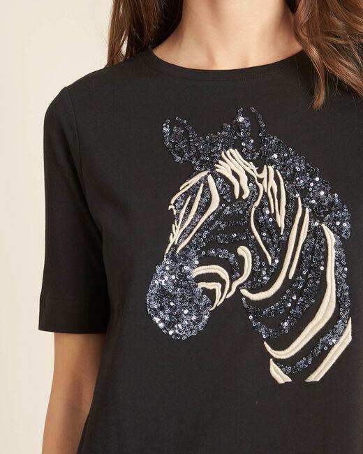 Schwarzes besticktes T-Shirt mit Zebra-Motiv Energy (1) - 1-2-3