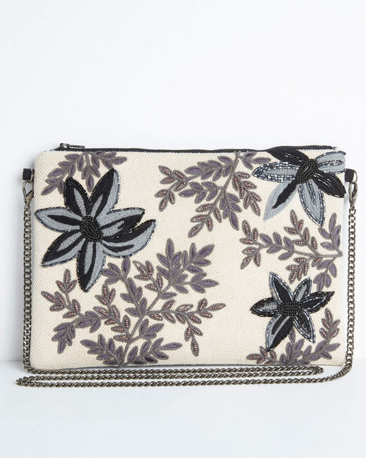 Darina embroidered and beaded floral shoulder bag with chain (1) - 1-2-3