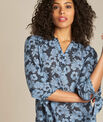 Gustine navy blue floral printed blouse PhotoZ | 1-2-3
