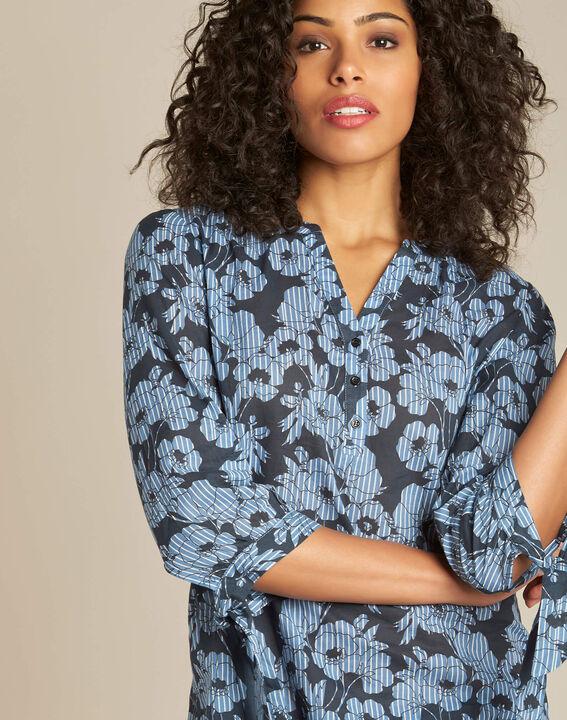 Gustine navy blue floral printed blouse PhotoZ | 1-2-3