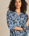 Gustine navy blue floral printed blouse (1) - 1-2-3