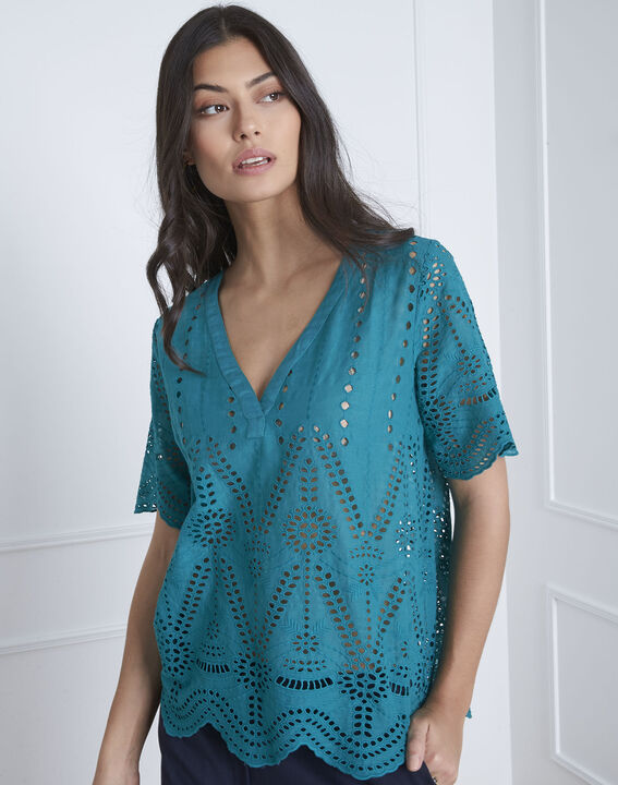 Blouse verte broderie anglaise Voltaire (2) - Maison 123