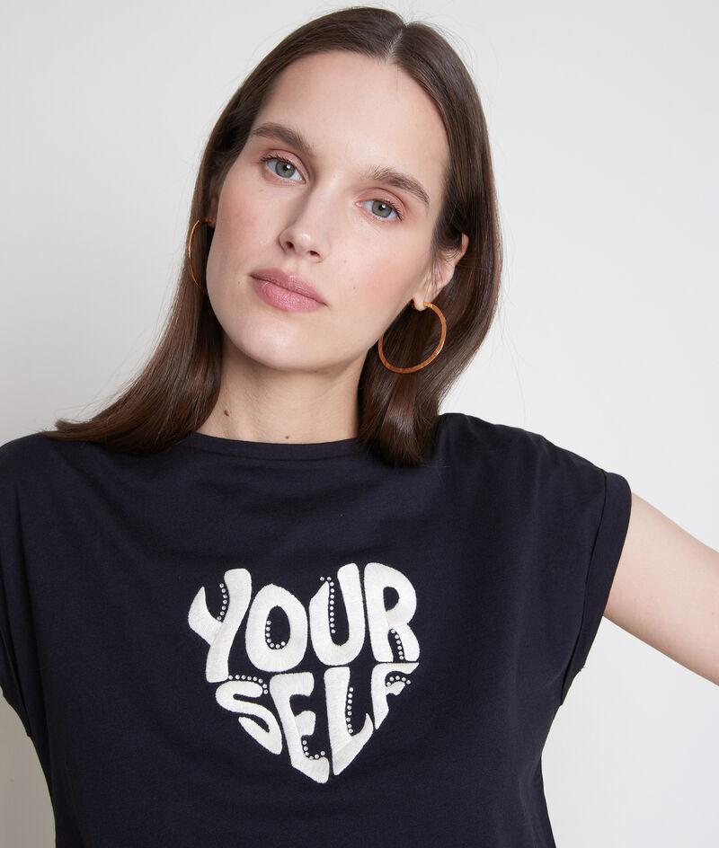 Tee-shirt en coton bio à message brodé marine Ella PhotoZ | 1-2-3