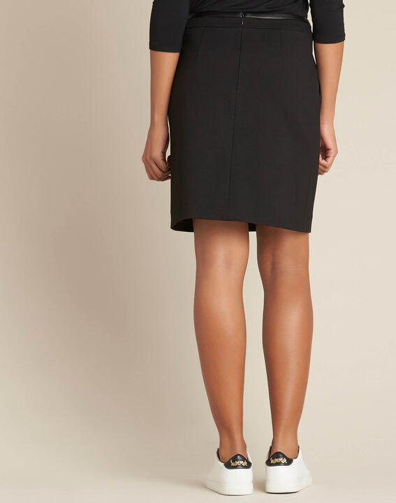 Leslie black straight-cut skirt with faux-leather detailing (4) - 1-2-3
