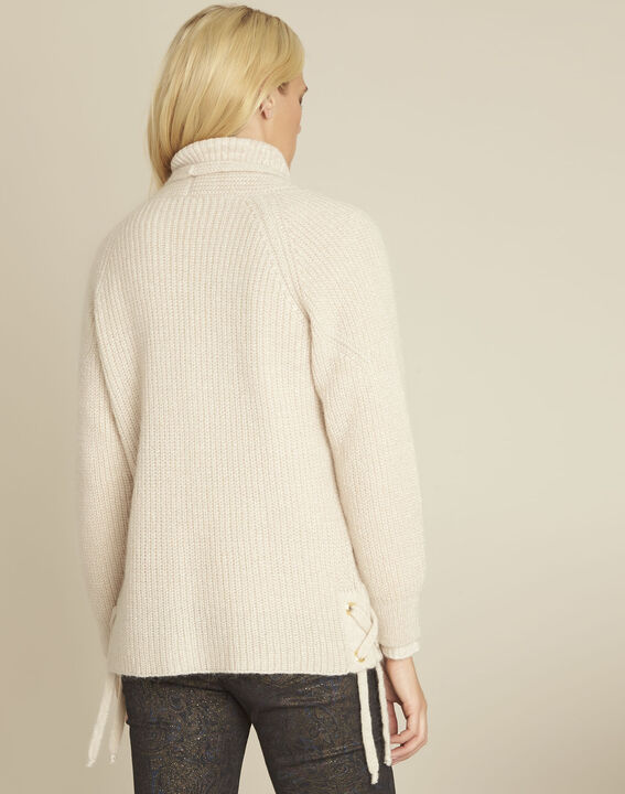 Blinis cream cardigan with side lacing (4) - Maison 123
