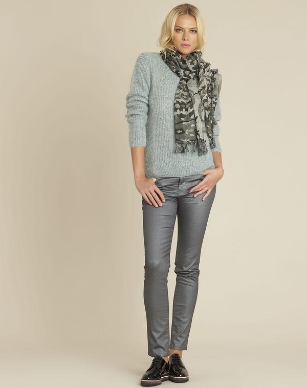 Kaki sjaal met franjes van modaal Fama (2) - 37653