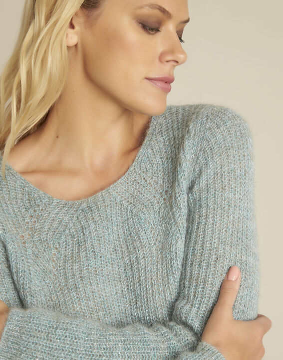 Pull bleu points fantaisie mohair Bello (3) - 37653