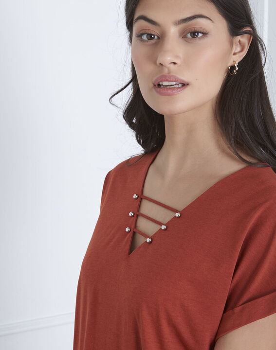 Tee-shirt marron laçage Papeete (3) - Maison 123