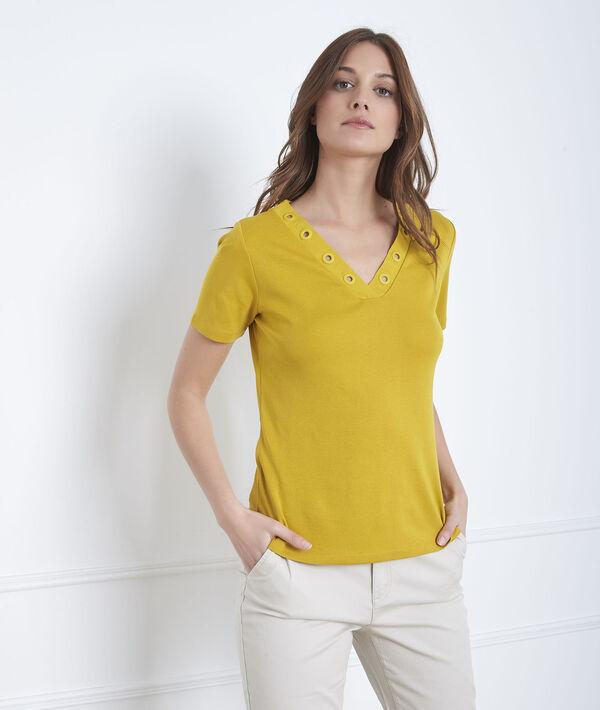 Anisfarbenes T-Shirt mit Ausschnitt mit Ösen Basic PhotoZ | 1-2-3