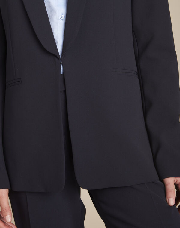 Stella navy blue jacket with cowl microfibre neckline (2) - 1-2-3