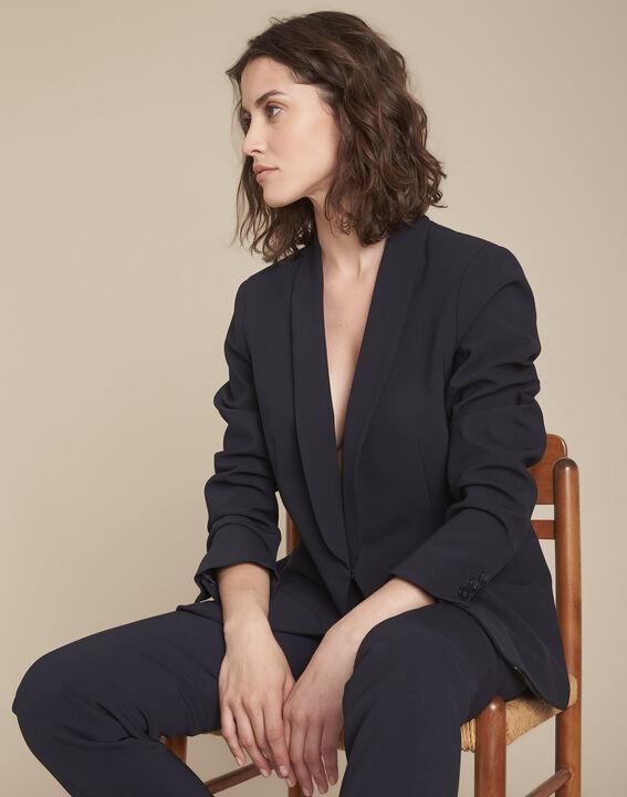 Stella navy blue jacket with cowl microfibre neckline PhotoZ   1-2-3