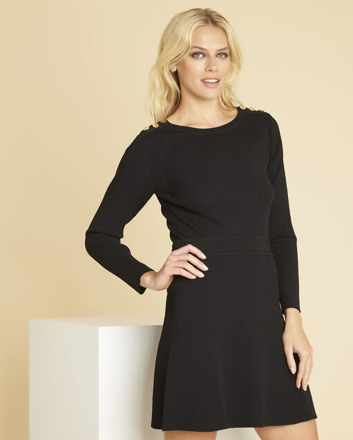 Robe noire en maille boutons épaules Drys (1) - 1-2-3