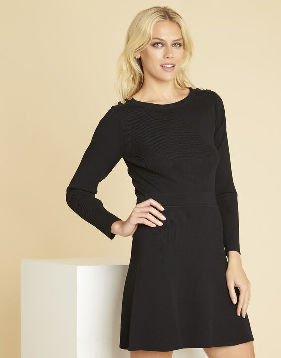 Drys black knitted dress with buttons on the shoulders PhotoZ | 1-2-3