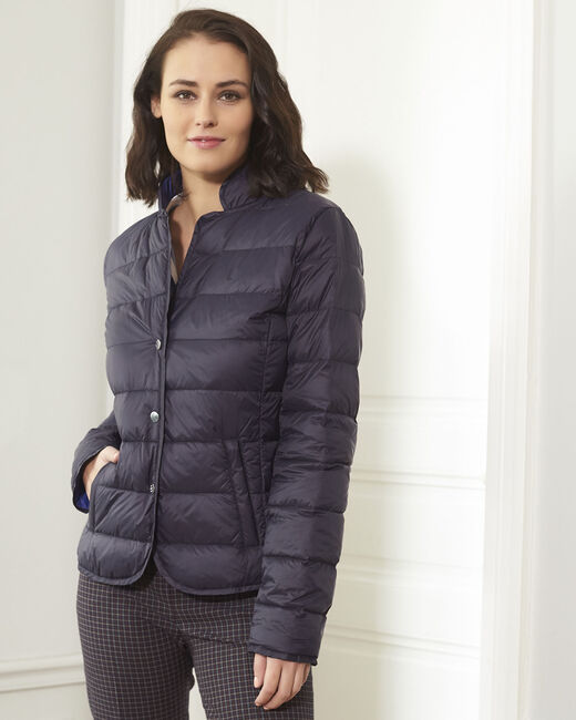 Penny short navy down jacket with beige lining (2) - 1-2-3