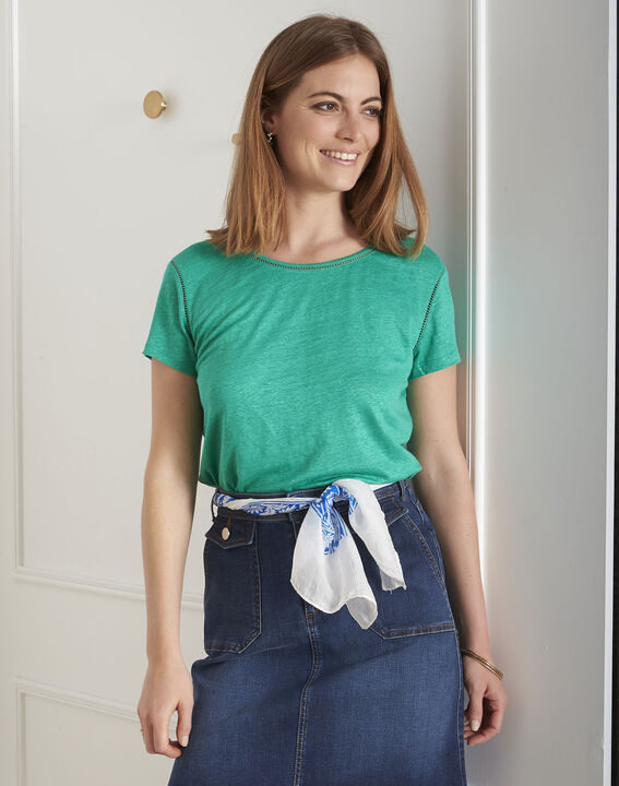 Tee-shirt vert jour échelle en lin Pin (1) - Maison 123