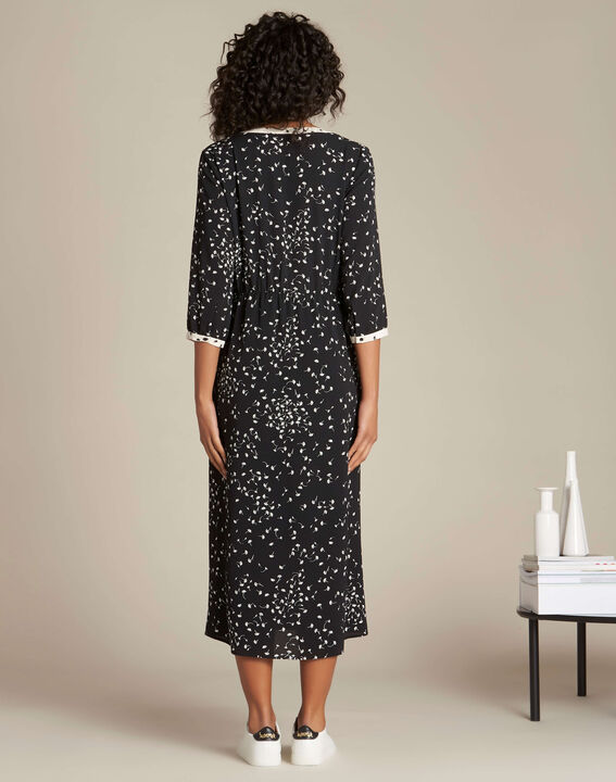 Langes schwarzes Kleid mit Ginko-Print Patchouli (4) - 1-2-3