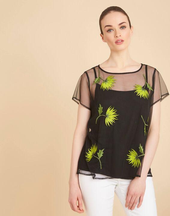 Tee-shirt noir transparent brodé fleurs Garden Hypnose (3) - 1-2-3