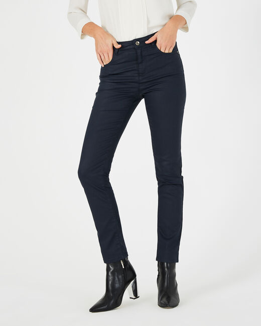 Oliver 7/8th length navy blue coated jeans (2) - 1-2-3