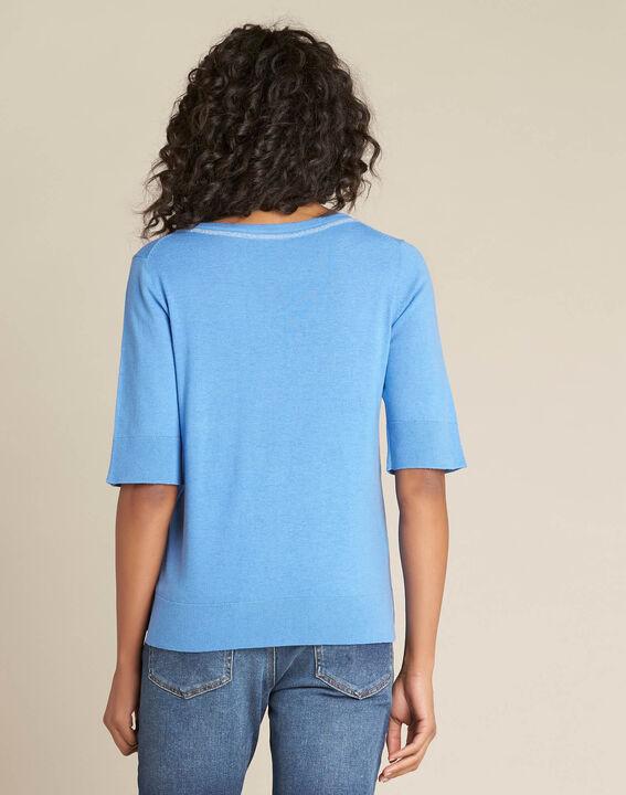 Pull bleu manches courtes laine et soie Nevada (4) - 1-2-3