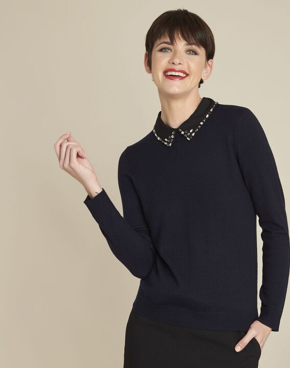 Bijoux navy wool pullover with Peter Pan jewel collar (1) - 1-2-3