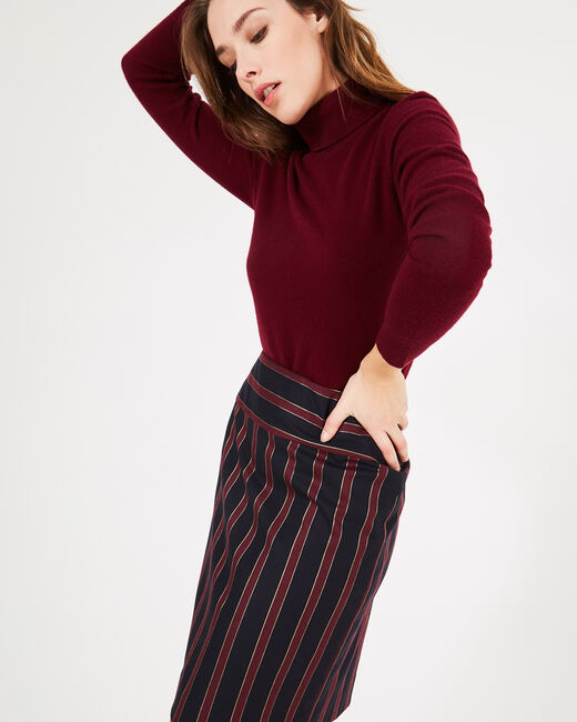 Loane tailored burgundy striped pencil skirt (2) - 1-2-3