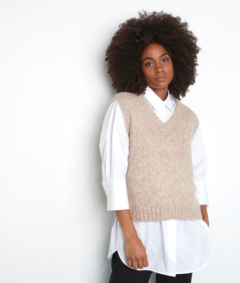 Ärmelloser Pullover V-Ausschnitt beige Tolga PhotoZ | 1-2-3