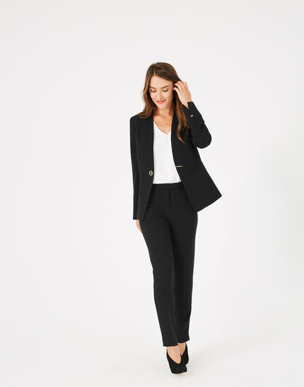 Majeste black mid-length tailored jacket (3) - 1-2-3