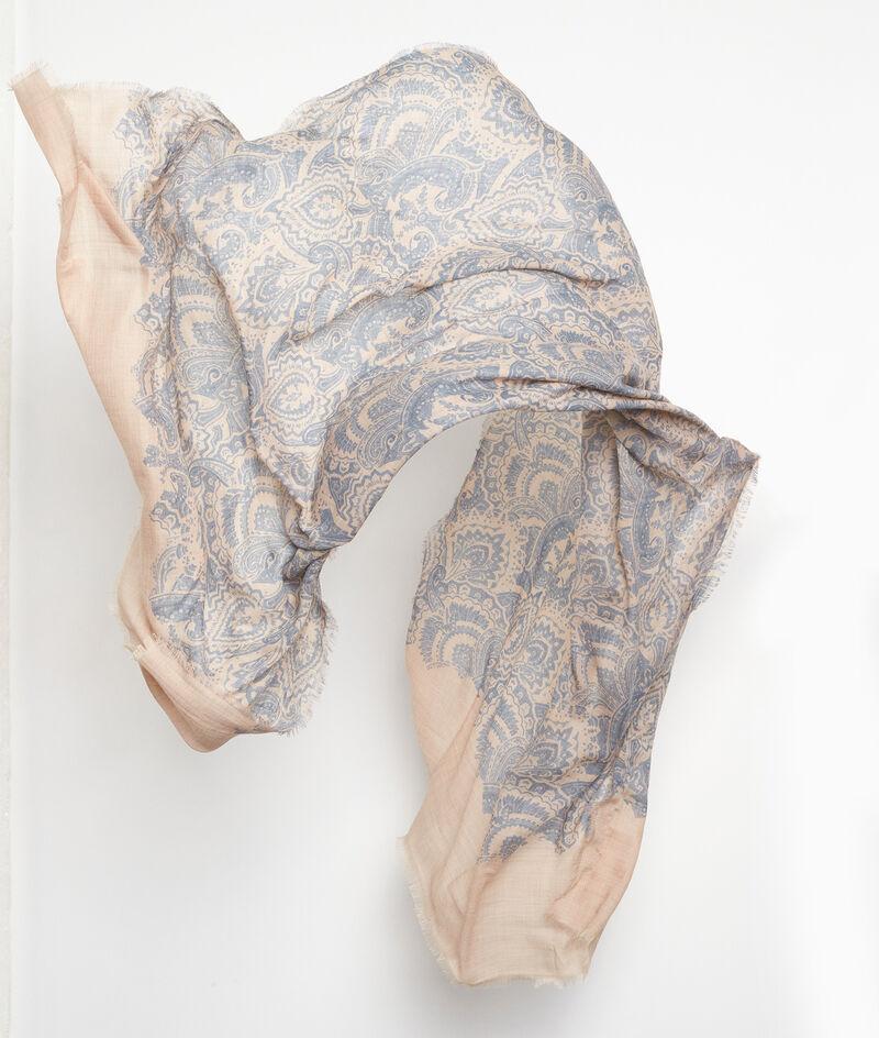 Foulard en laine imprimé bleu ciel Paisley PhotoZ | 1-2-3