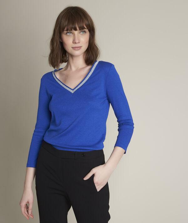 Tee-shirt bleu col fantaisie Calypso PhotoZ | 1-2-3