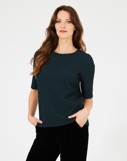 Waldgrünes Jacquard-T-Shirt Livia (2) - 1-2-3