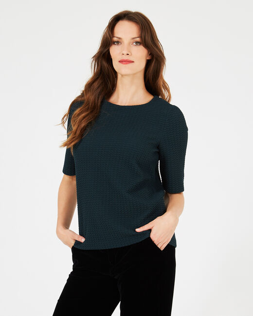 Waldgrünes Jacquard-T-Shirt Livia (1) - 1-2-3