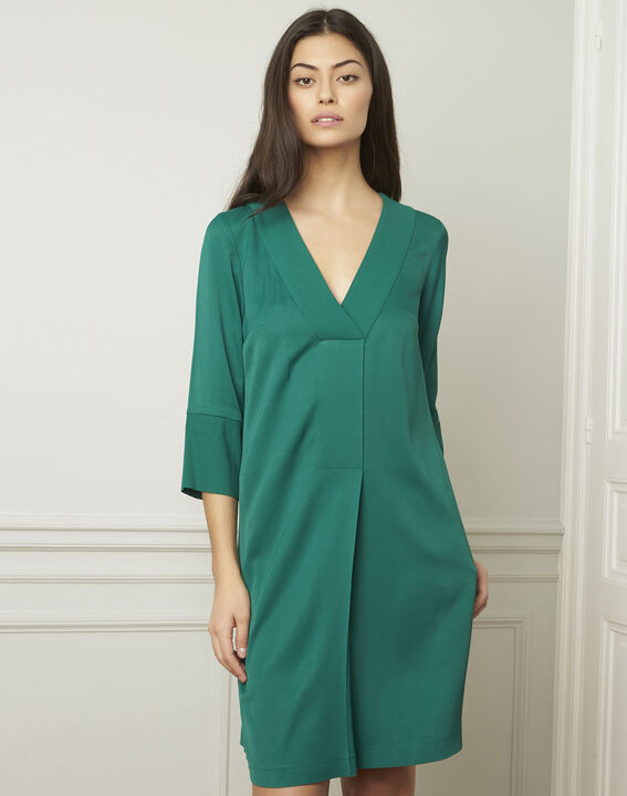 Robe verte encolure V Lina PhotoZ | 1-2-3