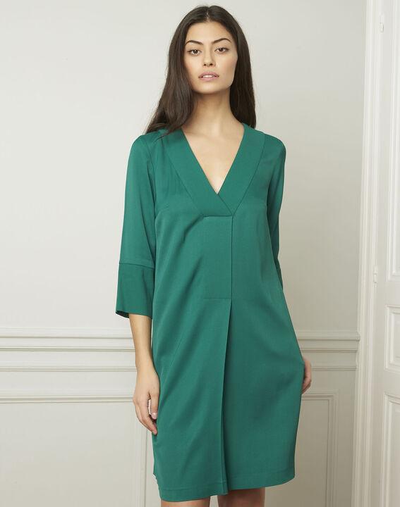 Grünes Kleid mit V-Ausschnitt Lina (1) - Maison 123