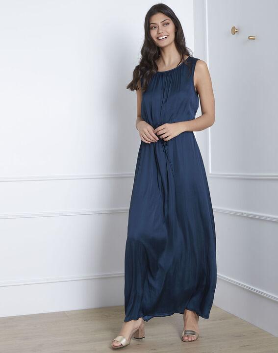 Langes Kleid in dunkelgrünem Satin Ivana (1) - Maison 123