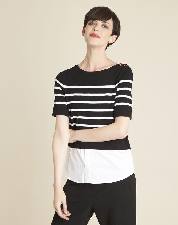 Pull chemise noir rayé Brise (1) - 1-2-3