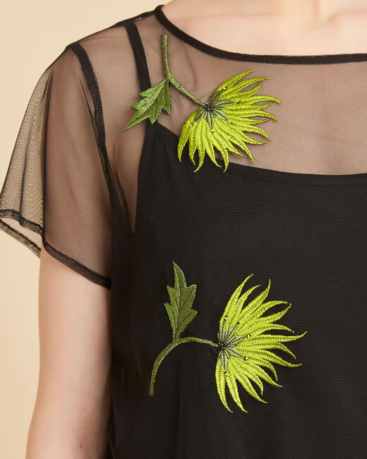 Garden Hypnose black sheer T-shirt with embroidered flowers (1) - 1-2-3